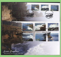 New Zealand 2002 Scenic Coastlines set & self adhesives on two First Day Covers
