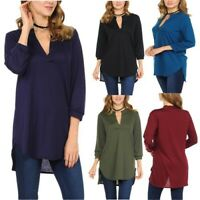 Womens Plus Size Long T-shirt Ladies Casual Loose Long Sleeve Blouse Tunic Tops