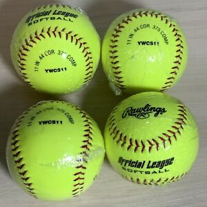 "Rawlings Softballs Recreational Practice 4pk 11"" 44 Cor 375 Comp YWCS11"