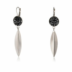 925 Silver-plated-brass Earring Swarovski Crystals, Circle 16 Mm, Black Size