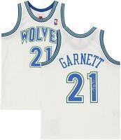 Kevin Garnett Minnesota Timberwolves Signed White 1995 M&N Swingman Jersey