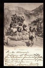 1901 fast horses stagecoach mail switzerland postcard