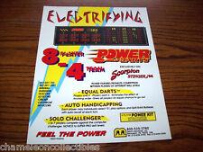 POWER DARTS By MERIT 1990s ORIGINAL NOS VIDEO ARCADE GAME SALES FLYER BROCHURE