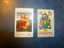 United States Scott 1507-1508, the 1973 Christmas Madonna & Needlepoint Tree