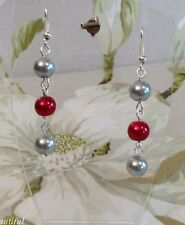 Stylish Grey and Red Faux Class Pearl Bead Dangle Pierced Earrings Handmade