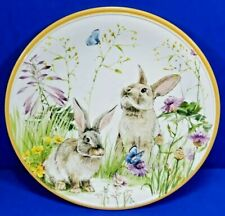 Williams Sonoma Floral Meadow Child Plate Melamine Bunny Rabbit Flowers 9 In