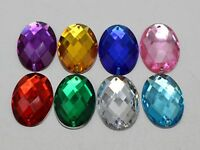 50 Mixed Color Flatback Acrylic Sewing Rhinestone Oval Sew On Beads 18X25mm