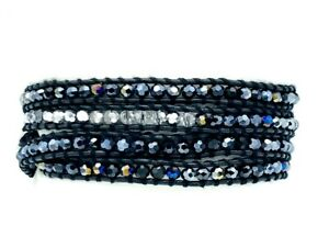 Multiple Wrap Leather Bracelet Faceted AB Black Metallic Silver Beads