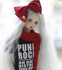 Bjd Wig 1/3 8-9  SD DOC Pullip Dal Supper Dollfie Doll  long White Curly /wigs