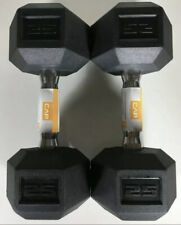NEW Cap 25 LB Pound Rubber Hex Dumbbells Set Of 2 (50 LBS Total) SHIPS FAST!