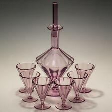 MOSER ART GLASS Alessandrite Decanter & 6 sei bicchieri da liquore-FIRMATO