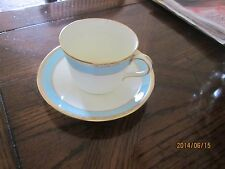 Royal Crown Derby Fifth Avenue Pattern Flat Cup and Saucer set, White w/ Aqua