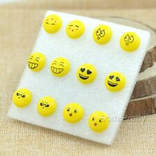 6 Paar/set Süß Emoji Mimik Motiv Ohrring Ohrstecker Ohrhänger Ohrschmuck