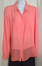 CANDIE'S Size Large Peach Orange FLORAL Studded Semi-Sheer Dressy BLOUSE Shirt