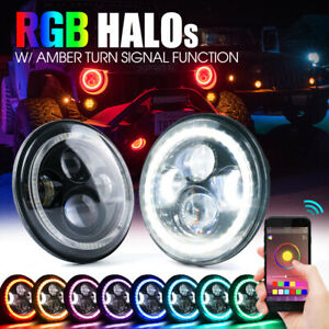 "90W CREE LED 7"" Headlights Bluetooth RGB Halo Ring For 97-18 Jeep Wrangler JK"