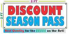 DISCOUNT SEASON PASS Banner Sign 4 Shop Resort Club Repair Machine Downhill SKI