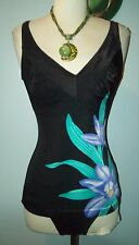 Vintage black Hawaiian Floral Flower Ruched Bathing suit size 32 Small Bombshell