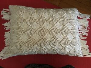 Macrame fringed decorative pillow