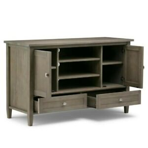 Warm Shaker Solid Wood TV Media Stand in Distressed Grey