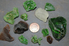 💕SURF TUMBLED FROSTED BONFIRE SEAGLASS CHUNKS NUGGETS GENUINE MELTED SEA GLASS
