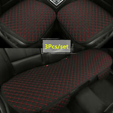 3Pcs Black/Red Car Accessories Seat Covers Front+Rear Linen Cushion Protector
