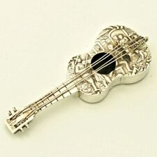 Antique European Solid Silver Guitar Novelty Snuff Box Case Figurine Victorian