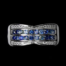 Heated Blue Sapphire Round Diamond Cut 2mm Topaz 925 Sterling Silver Ring Size 7