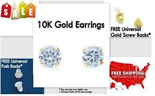 Stud Earrings, **100% 10K Yellow Gold** CZ, 5mm **PAIR* Stamped Authentic