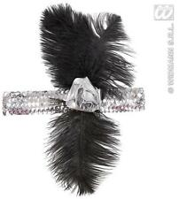 1920's Silver Sequin Headband With Flowers and Feathers Charlseston Fancy Dress
