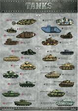 Nuevo WW1 Segunda Guerra Mundial A3 aliadas de tanques alemanes cartel Guerra Mundial Uno Dos identificación