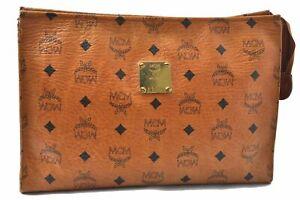 Authentic MCM Cognac Visetos Leather Vintage Clutch Hand Bag Brown 0135A