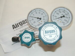 Airgas Pressure Regulator with 25PSi Delivery Brass High-Purity Single-Stage