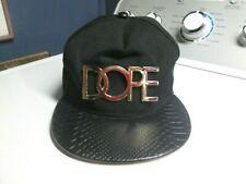 ba96a9c7dbe51 DOPE Black Leather Brim Adjustable Snapback Baseball Hat Cap Gold Logo
