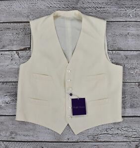 Ralph Lauren Purple Label Cream Wool Tuxedo Dress Vest 44 R New $695