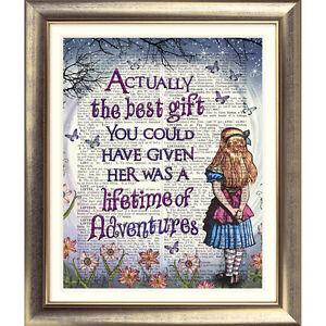 ART PRINT ORIGINAL ON ANTIQUE BOOK PAGE Vintage Alice in Wonderland ALICE Quote