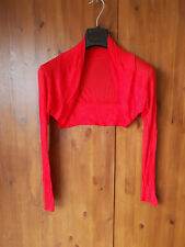 THIN DRESS SHRUG CROP CARDIGAN TOP Red to Cover Arms UK 12-14 - NEW