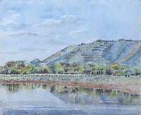Aquarell Hügelige Landschaft mit blauem Himmel und Bäumen am Fluss Impressionist