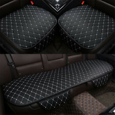 3PCS Black& White Car Seat Cover Cushions PU Leather For Interior Accessories