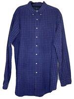 Ralph Lauren Blue Label Men's 100% Two Ply Cotton Long Sleeve Shirt Size XL Tall
