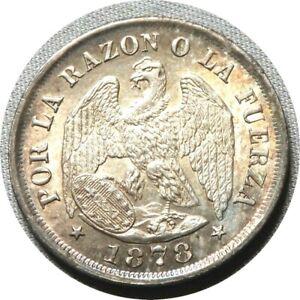 elf Chile 20 Centavos 1878  Defiant  Condor  Silver