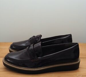 Marks & Spencer Collection shoes size 7 flatform loafers patent burgundy vegan