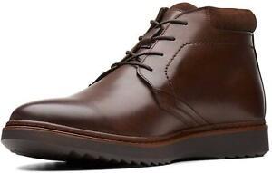 Clarks WATERPROOF Un Geo Mid Gtx Brown Leather Boot Men WIDE-FIT UK-8.5 H 42.5 W