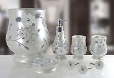 6 Piece Decorative Bathroom Accessory set Made of Ceramic (Melarose Gray)