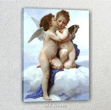 Bouguereau, Amore e psiche bambini QUADRO CAMERA PUTTI ANGELO STAMPA TELA