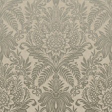 Signature Taupe Damask Wallpaper by Crown Floral Leaf Feature M1066