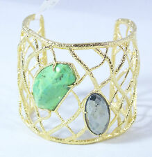 Alexis Bittar Woven Gold Green Turquoise Hematite Wide Cuff Bracelet $275 New