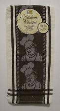 FAT CHEF Brown Jacquard 100% Cotton Kitchen Towel 18 x 28-in Kitchen Accessory