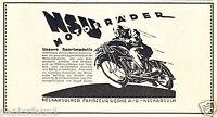 NSU Motorrad Reklame von 1925 Werbung Neckarsulm Fahrzeugwerk ad motorbike