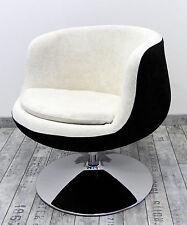 Poltrona design moderna bianca e nera in velluto girevole