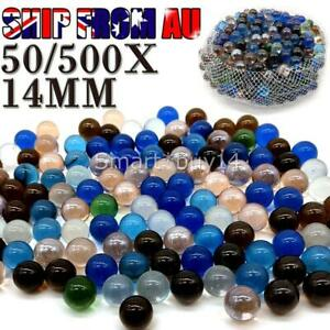 50/500PCS Kids Play Glass Marbles 14mm Mixed Color Home Decoration OZ